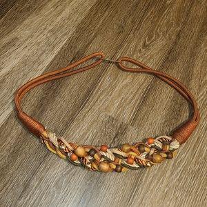 Vintage Boho Brown Beaded Wooden Braided 90s Belt